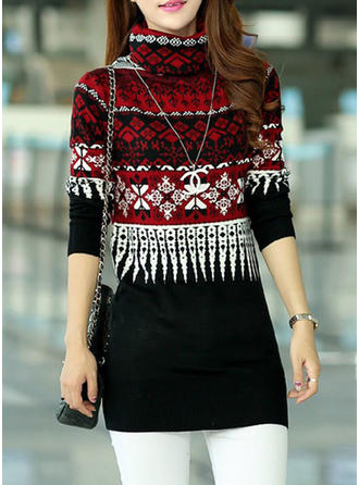 Knit Turtleneck Print Sweater