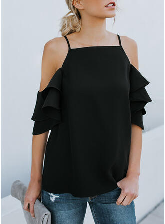 Solid Off the Shoulder Flare Sleeve 1/2 Sleeves Casual Blouses