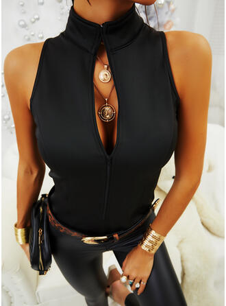Solid Stand collar Sleeveless Sexy Tank Tops