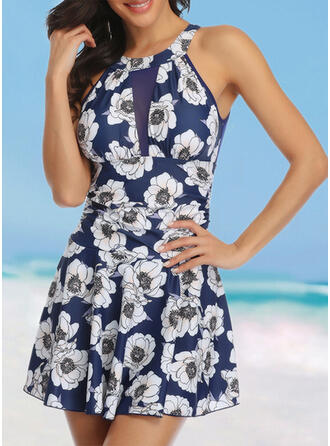 Floral Print Round Neck High Neck Cute Plus Size Swimdresses Swimsuits