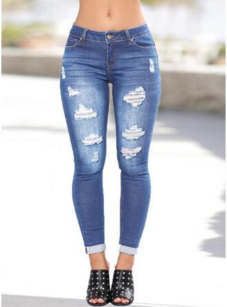 Pockets Shirred Plus Size Long Sexy Denim & Jeans
