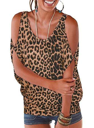 Estampado Animal Leopardo Top sin Hombros Manga 1/2 Casual Blusas