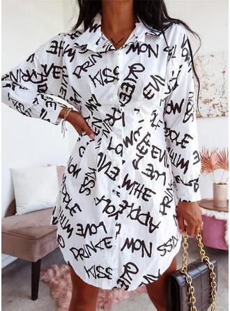 Print/Letter Long Sleeves Sheath Above Knee Casual Shirt Dresses