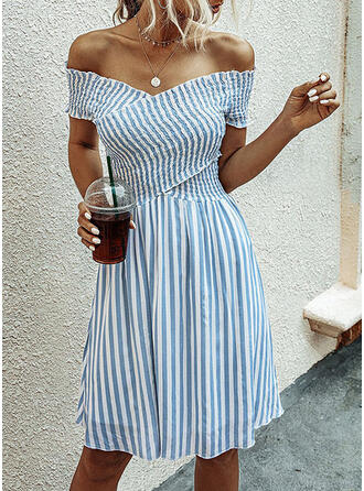 Striped Short Sleeves A-line Knee Length Casual/Vacation Dresses