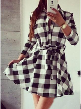 Cotton Blends Lapel Geometric Print Long Sleeves Button Up Blouses