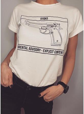 Imprimée Col Rond Manches Courtes Décontractée T-shirts