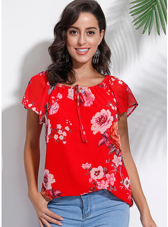 Floral V-Neck Short Sleeves Casual Elegant Blouses