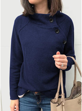 Solid Stand collar Long Sleeves Casual Knit Blouses