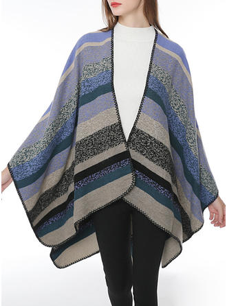 A rayas simple Bufanda/Poncho
