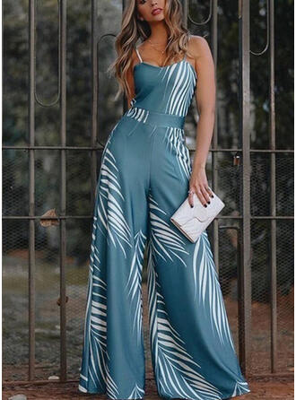 Print Spaghetti Strap Sleeveless Casual Jumpsuit