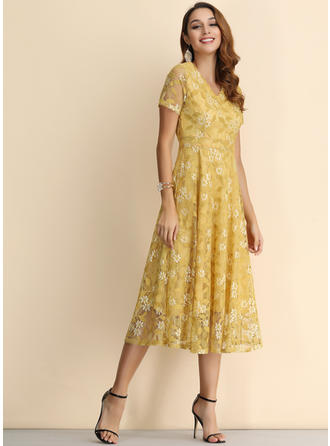 Lace/Print/Floral Short Sleeves A-line Midi Casual/Elegant Dresses