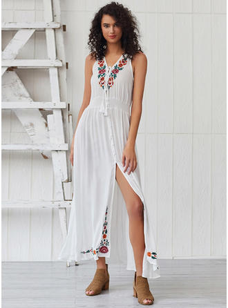 Embroidery/Floral Sleeveless A-line Maxi Casual/Boho/Vacation Dresses