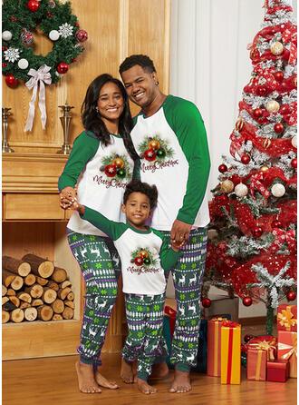 Renna Lettera Stampa Famiglia Partita Di Natale Pajamas