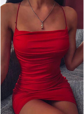 Solid Sleeveless Bodycon Above Knee Sexy/Party Slip Dresses