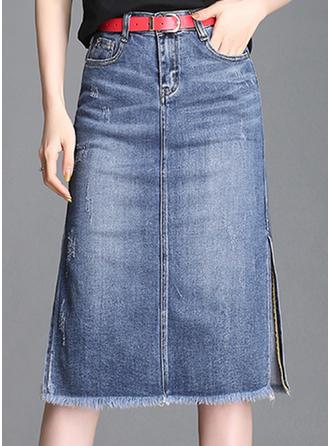 Jean Solid Color Polvi Pituus Demin Hameet