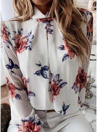 Print Floral High Neck Long Sleeves Casual Elegant Shirt Blouses