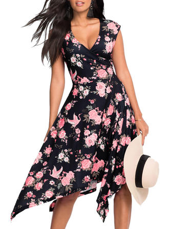 Print Floral V-neck Asymmetrical A-line Dress