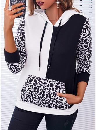 Color Block Leopard Dlouhé rukávy Kapuce