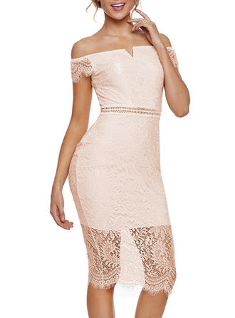 Lace/Solid Cap Sleeve Bodycon Midi Party Dresses