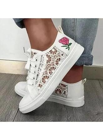 Frauen Stoff Flascher Absatz Flache Schuhe Round Toe Espadrille mit Applikationen Hohl-out Gummiband Schuhe