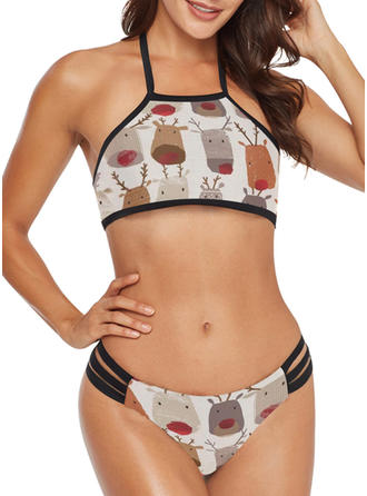 Splice color Halter Beautiful Bikinis Swimsuits