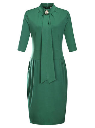 Solid Stand collar Above Knee Sheath Dress