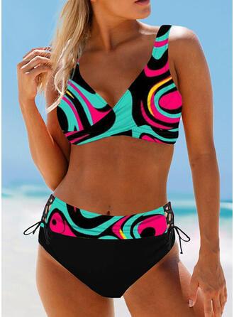 Wysoki stan Nadruk W prążki Dekolt w kształcie litery V Boho Bikini Stroje kąpielowe