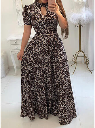 Leopard Short Sleeves/Puff Sleeves A-line Casual/Plus Size Maxi Dresses