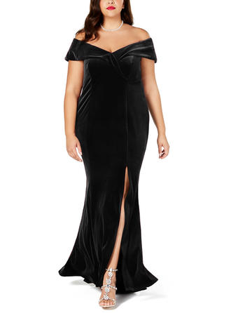 Solid Cap Sleeve Sheath Maxi Little Black/Party/Elegant Dresses
