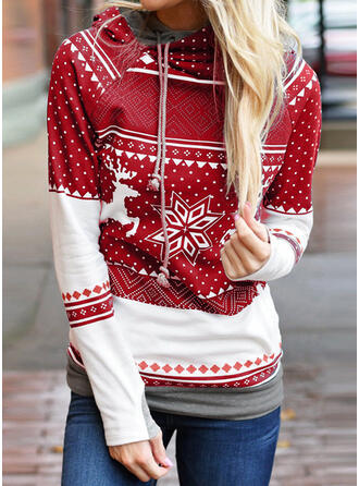 Animal Print Long Sleeves Casual Christmas Knit Blouses
