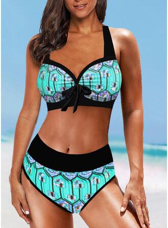 Taille Haute Imprimé Bowknot À Bretelles Sexy Boho Bikinis Maillots De Bain