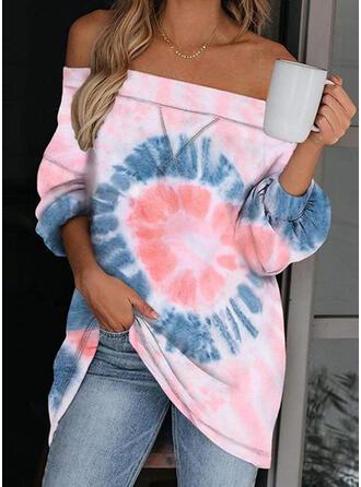 Tie dye Farve Off the Shoulder Lange ærmer Sweatshirts