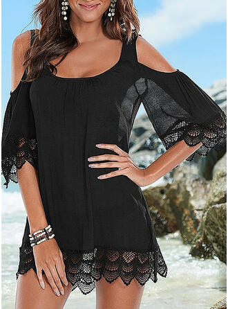 Lace/Solid 3/4 Sleeves/Cold Shoulder Sleeve Shift Above Knee Little Black/Casual/Vacation Dresses