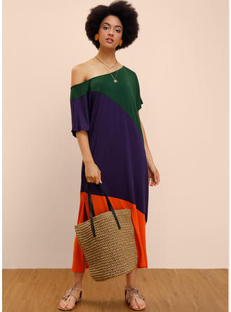 Color-block 1/2 Sleeves Shift Maxi Casual Dresses