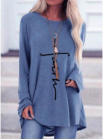 Figura Nadruk Okrągły dekolt Długie rękawy T-shirty