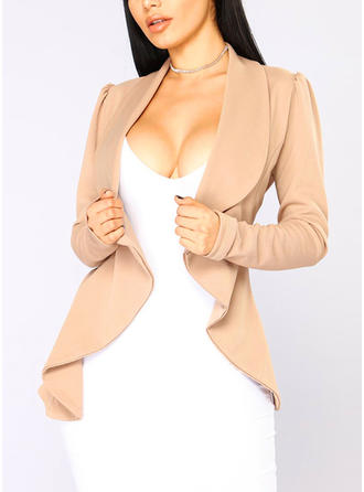 Polyester Spandex Long Sleeves Plain Blazers