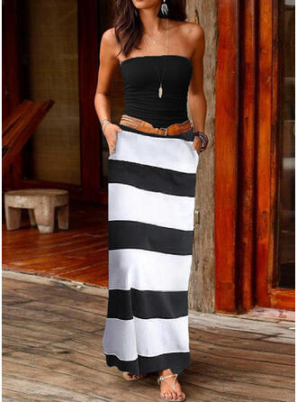 Striped Sleeveless A-line Sexy/Casual Maxi Dresses
