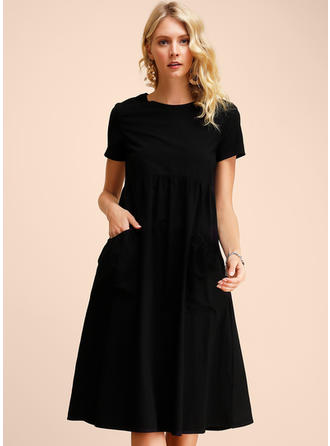 Solid Short Sleeves Shift Midi Little Black/Casual Dresses