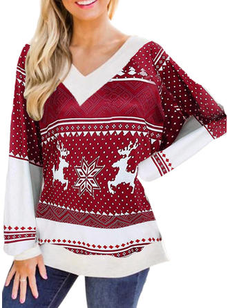 Print V-neck Long Sleeves Casual Christmas Knit Blouses