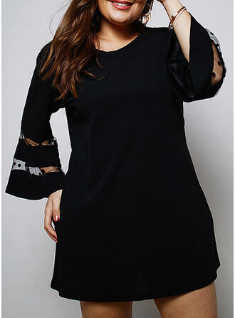Solid/PolkaDot 3/4 Sleeves/Flare Sleeves Sheath Above Knee Little Black/Casual/Elegant/Plus Size Dresses