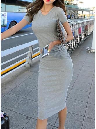 Jednolita Krótkie rękawy Bodycon Długośc do kolan Casual Sukienki