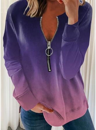 Gradient V-Neck Long Sleeves Sweatshirt