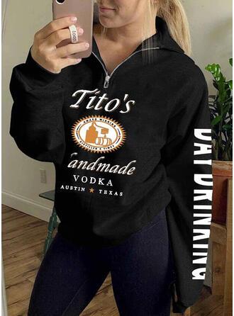 Print Halloween Lapel Lange ærmer Sweatshirts