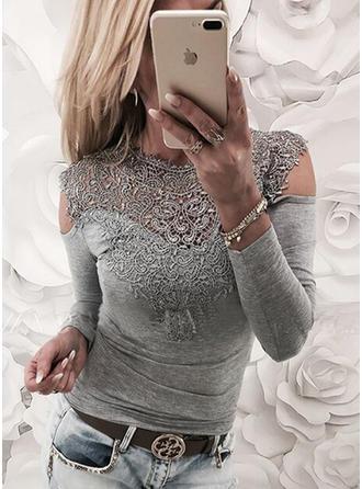 Bawełna Okrągły Dekolt Jednolity kolor Długie rękawy Nieformalny Bluzki
