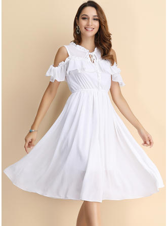 Solid Cold Shoulder Sleeve/Cap Sleeve A-line Knee Length Casual Dresses