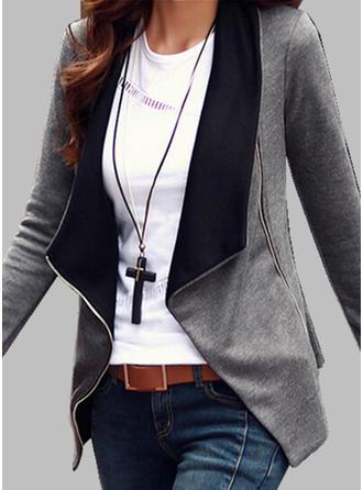 Cotton Blends Long Sleeves Plain Blazer