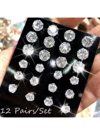 Shining Alloy Crystal Earrings (Set of 12 pairs)