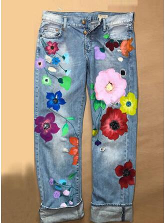 Kwiatowy Długo Seksowny Długi Spodnie
