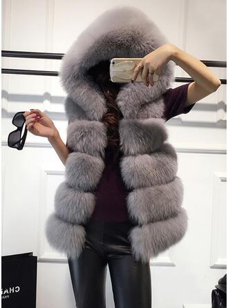Faux Fur Sleeveless Plain Vest