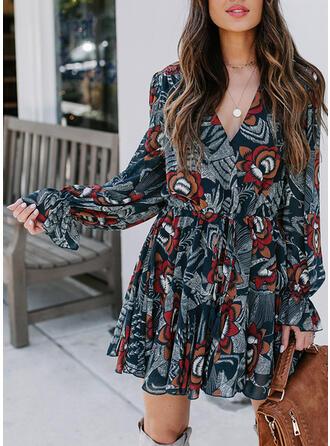 Nadrukowana Długie rękawy W kształcie litery A Nad kolana Casual/Elegancki Sukienki